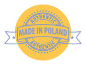 Stamp with the text Authentic, Made in Poland — Stock Vector