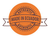 Stamp with the text Authentic, Made in Ecuador — Stock Vector