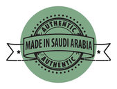 Stamp with the text Authentic, Made in Saudi Arabia — Stock Vector