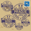 Grunge rubber stamp set with names of Czech Republic cities — Stock Vector #37852477