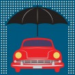 Car under umbrella — Stock Vector #38043439