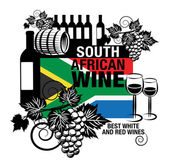 Stamp or label with words South African Wine — Stok Vektör