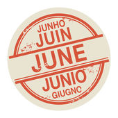 Stamp with the word June in different languages — Stock Vector