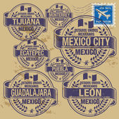 Grunge rubber stamp set with names of Mexico cities — Stock Vector