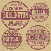 Grunge rubber stamp set with names of Vermont cities — Stock Vector