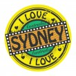 Stock Vector: Grunge color stamp with text I Love Sydney inside