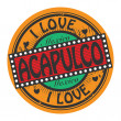 Stock Vector: Grunge color stamp with text I Love Acapulco inside