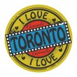 Stock Vector: Grunge color stamp with text I Love Toronto inside