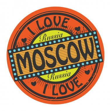 Grunge color stamp with text I Love Moscow inside