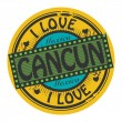 Stock Vector: Grunge color stamp with text I Love Cancun inside