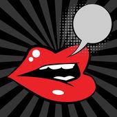 Open red lips — Stock Vector