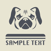Pug dog icon or sign — Stock Vector