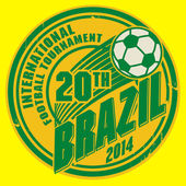 Grunge stamp with word Brazil football — Stock Vector