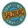 Grunge color stamp with text I Love Salzburg inside — Stock Vector