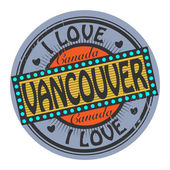Grunge color stamp with text I Love Vancouver inside — Stock Vector
