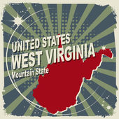 Abstract label with name and map of West Virginia — Stock Vector