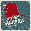 Abstract label with name and map of Alaska — Stock Vector #39360131