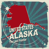 Abstract label with name and map of Alaska — Stockvektor