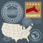Abstract post stamps set Massachusetts, USA — Stock Vector