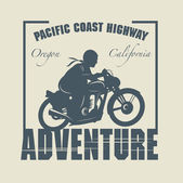 Vintage Motorcycle adventure label — Stock Vector