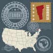 Stock Vector: Post stamps set with name and map of Vermont, USA
