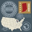 Stock Vector: Post stamps set with name and map of Indiana, USA