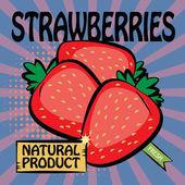 Fruit label, Strawberries — Stock Vector