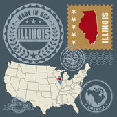 Post stamps set with name and map of Illinois, USA — ストックベクタ