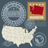 Abstract post stamps set with name and map of Washington, USA — Stock Vector