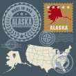 Abstract post stamps set with name and map of Alaska, USA — Stok Vektör