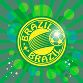Label with word Brazil, football theme — ストックベクタ