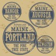 Stok Vektör: Stamp of Maine cities