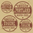 Stamp of Oregon cities — Vector de stock #40352823