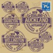 图库矢量图片: Grunge rubber stamp of New Zealand cities