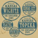 Stamp of Kansas cities — Stock Vector