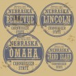Stamp of Nebraskcities — Vector de stock #40353439