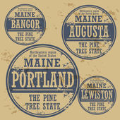 Stamp of Maine cities — Stok Vektör