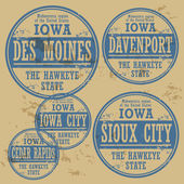 Grunge rubber stamp of Iowa cities — Stock Vector