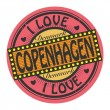 Stamp with text I Love Copenhagen — Stock vektor #40363999