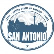 图库矢量图片: Grunge rubber stamp of Texas, SAntonio