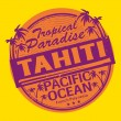 ストックベクタ: Rubber stamp of Tahiti