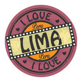 Stamp with text I Love Lima inside — Stock Vector