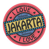 Stamp with text I Love Jakarta inside — Stock Vector