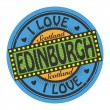 Vector de stock : Label with text I Love Edinburgh
