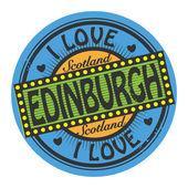 Label with text I Love Edinburgh — Stock Vector