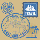 Stamp set with text Mediterranean, Aegean Sea — Stock Vector