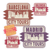 Stamp set with names of Spain cities — Stock Vector