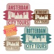 Stock Vector: Grunge rubber stamp set with names of Netherlands cities