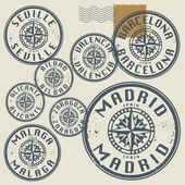 Carimbo de borracha grunge conjunto com nomes de cidades de espanha — Vetorial Stock