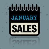 写在里面的单词一月销售与日历标签 — 图库矢量图片